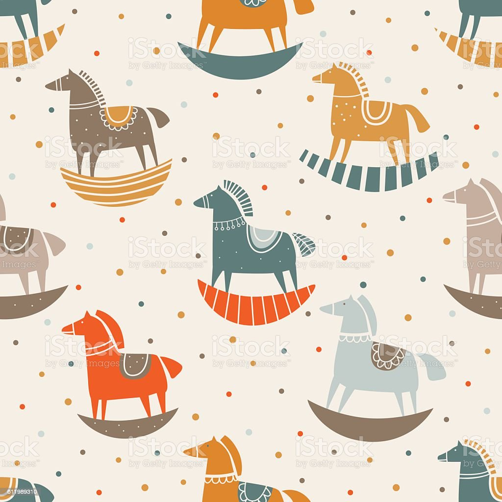 Vector seamless pattern with funny wood horse in pastel colors vector art illustration