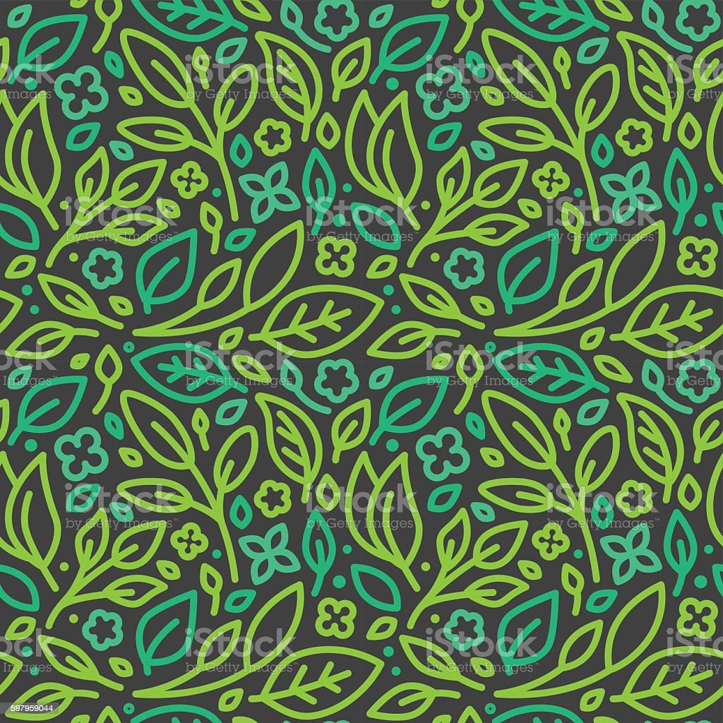 Vector seamless pattern with green leaves vector art illustration