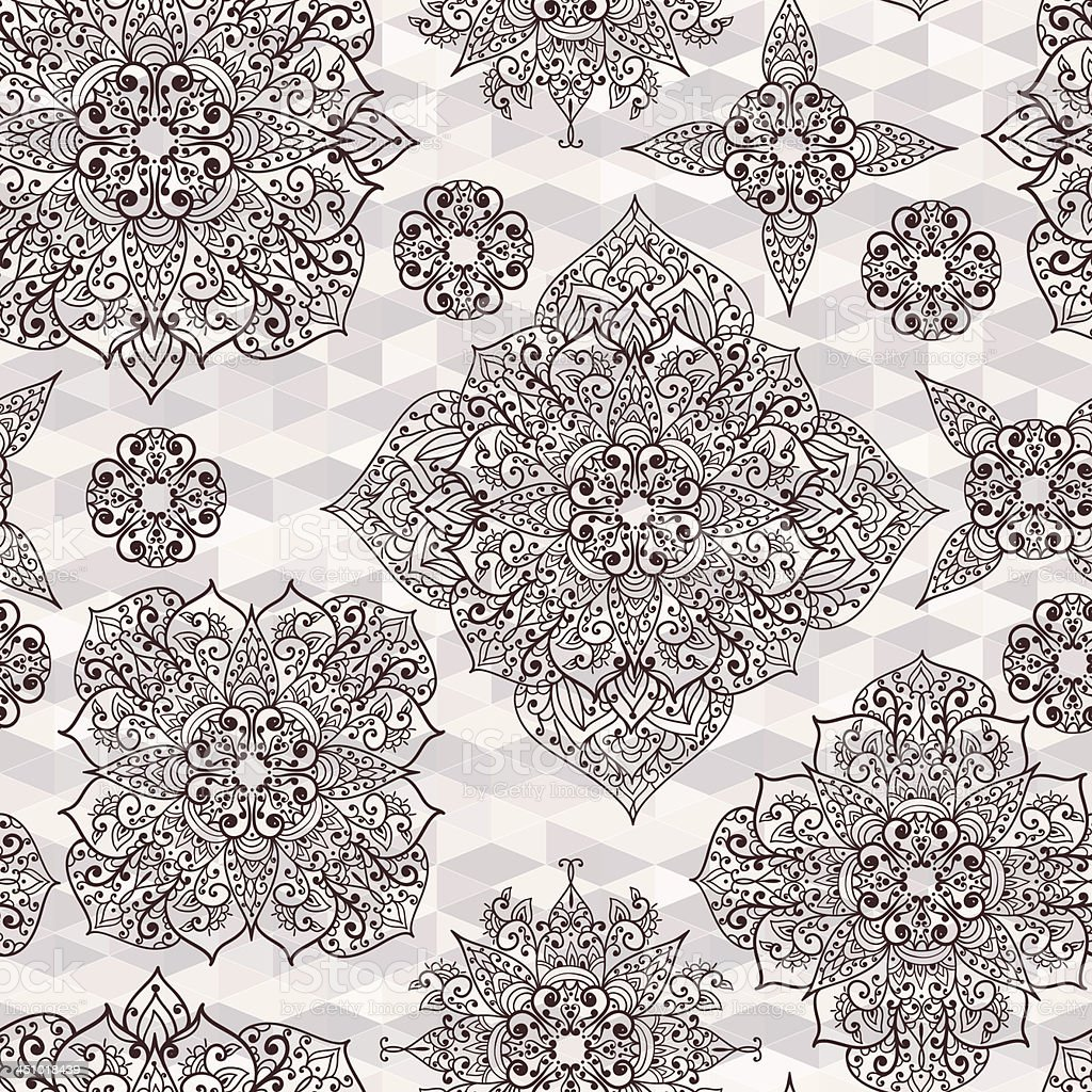 Vector seamless pattern with hand drawn flower royalty-free stock vector art