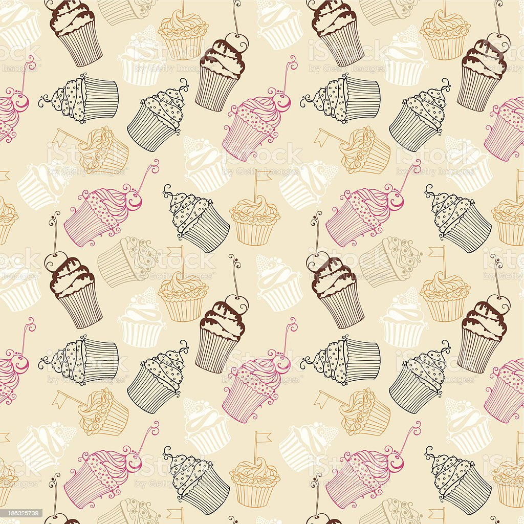 Vector seamless pattern with Hand drawn sweet cupcakes. royalty-free stock vector art