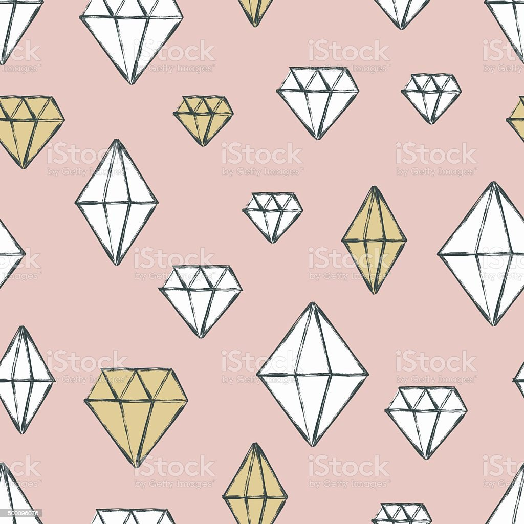 Vector seamless pattern with hand drawn watercolor diamond cryst vector art illustration
