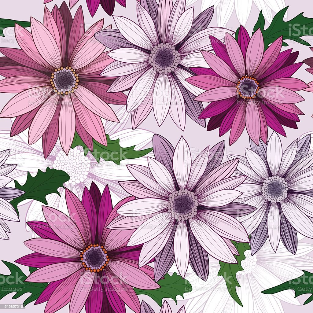 Vector seamless pattern with hand-drawn flowers. vector art illustration