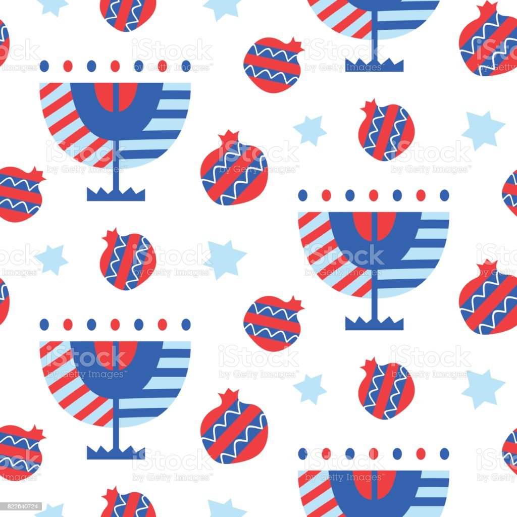 Vector seamless pattern with Hanukkah menorah and pomegranates icons vector art illustration