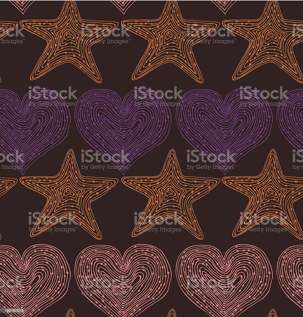 Vector seamless pattern with hearts and stars royalty-free stock vector art