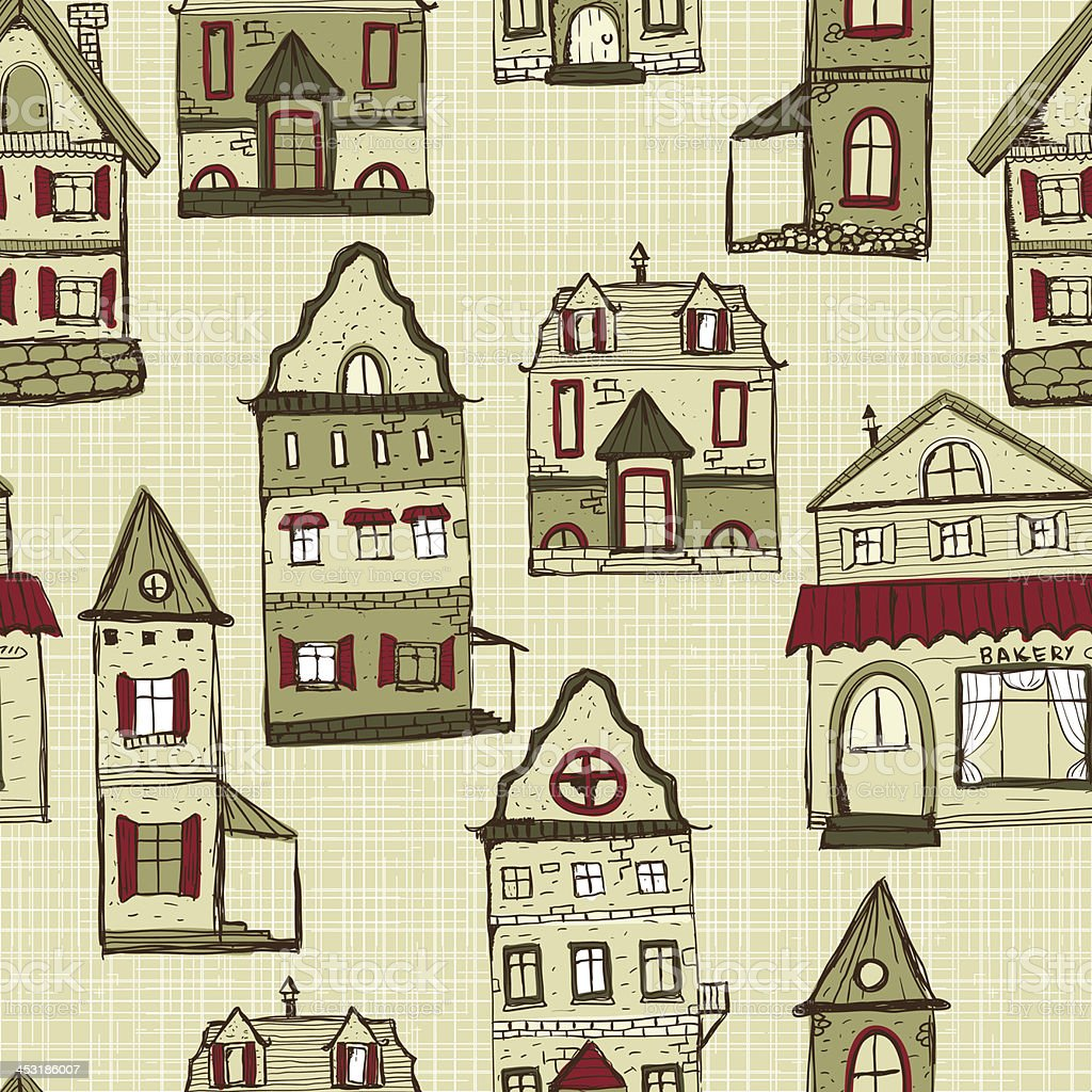 vector seamless pattern with houses royalty-free stock vector art