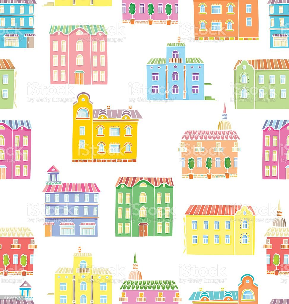 Vector seamless pattern with houses. vector art illustration