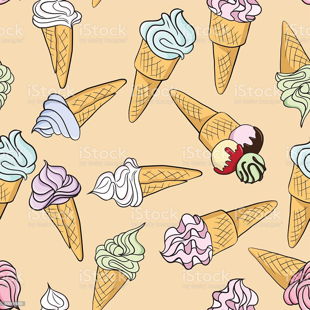 Vector seamless pattern with ice creams royalty-free stock vector art