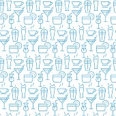 Vector seamless pattern with icons of drink items.