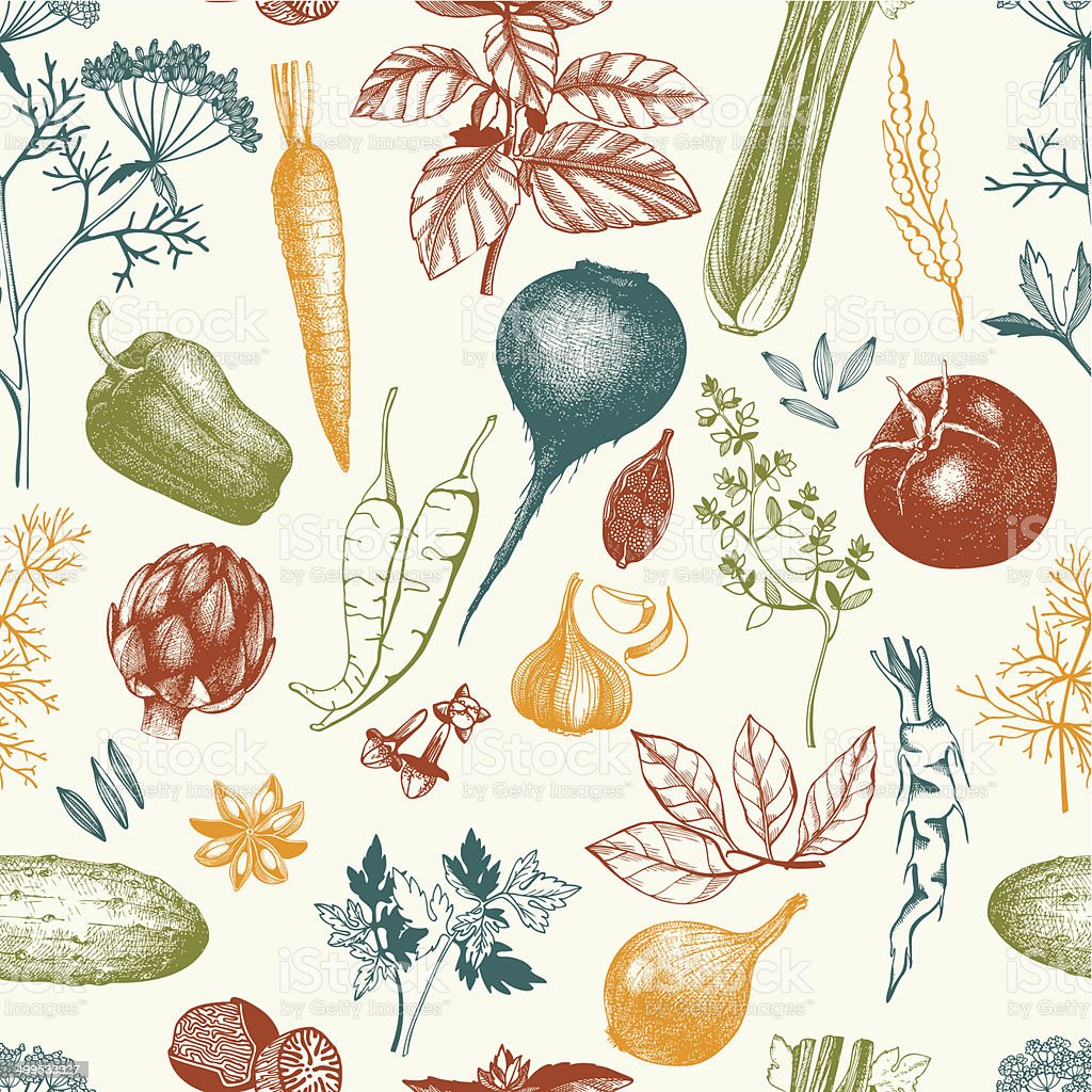 Vector seamless pattern with ink hand drawn vegetables vector art illustration