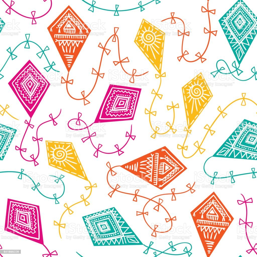 Vector seamless pattern with kites in the sky. Childish design. vector art illustration