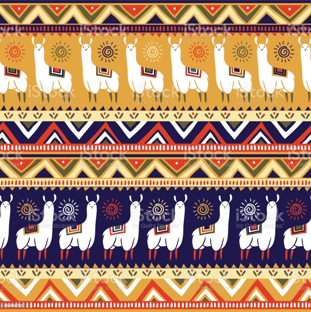 Vector seamless pattern with lamas and geometrical ornaments. vector art illustration