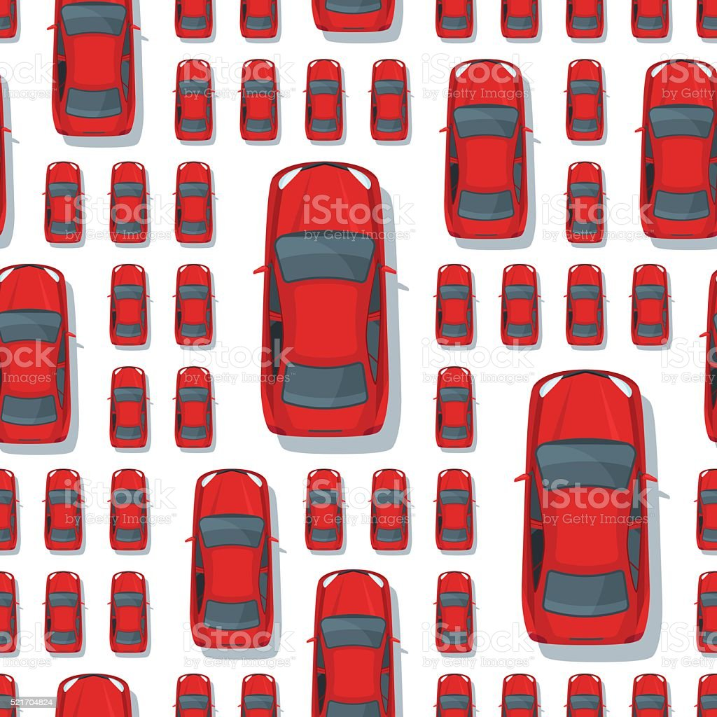 Vector seamless pattern with multi sized red cars. vector art illustration