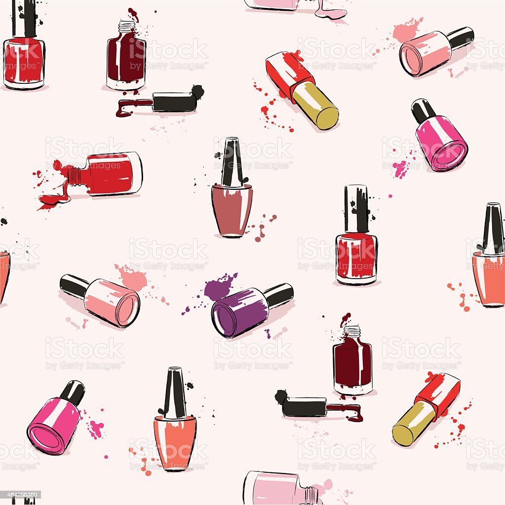Vector seamless pattern with nail polish vector art illustration