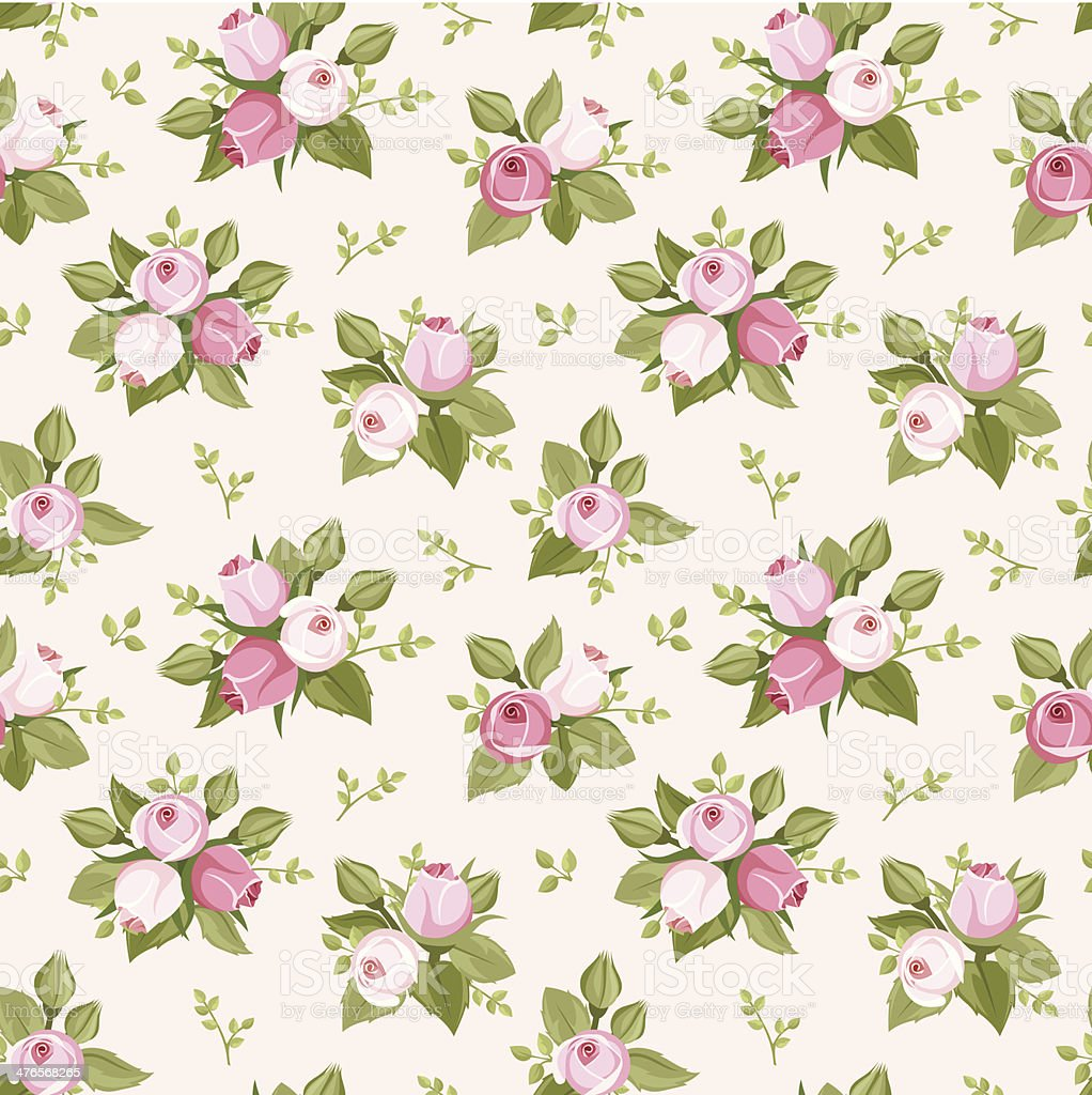 Vector seamless pattern with pink rose buds and leaves. royalty-free stock vector art