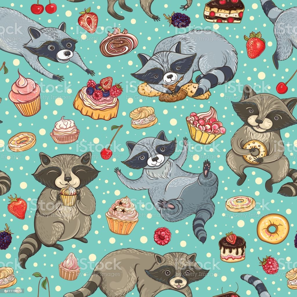 Vector seamless pattern with raccoons and cakes vector art illustration