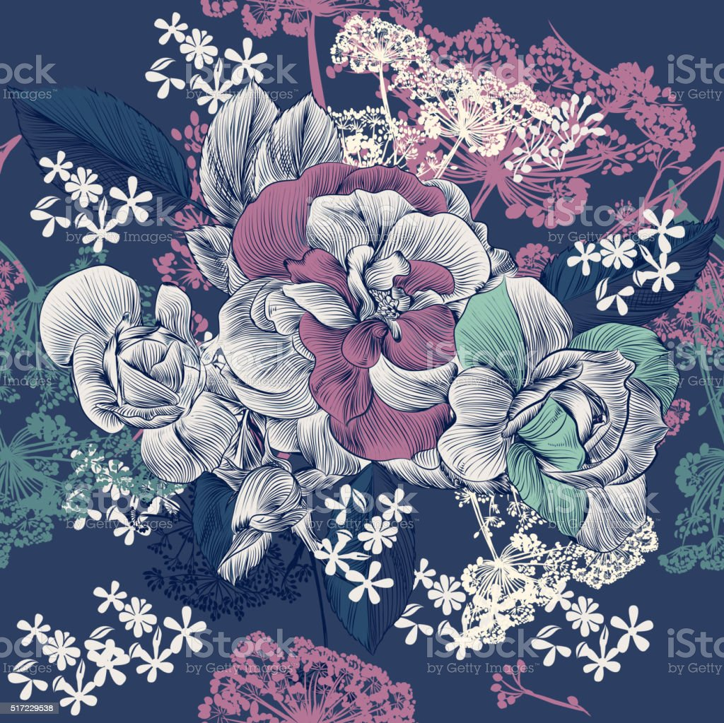 Vector seamless pattern with rose flowers in engraved style f vector art illustration