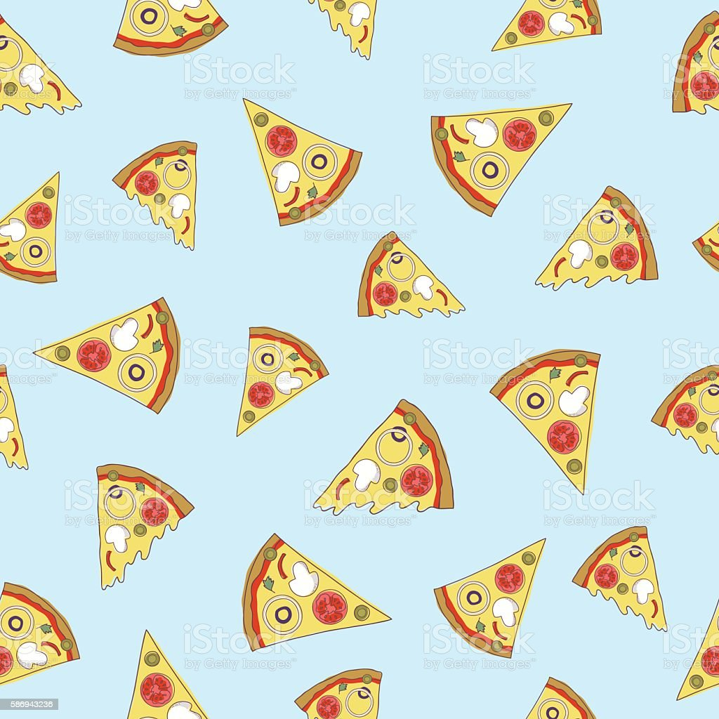 Vector seamless pattern with slices of pizza. vector art illustration
