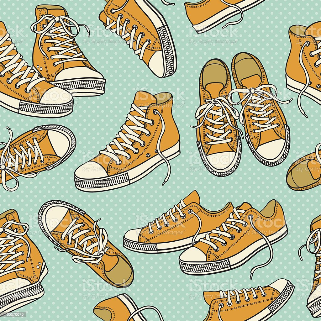 Seamless pattern with sneakers royalty-free stock vector art