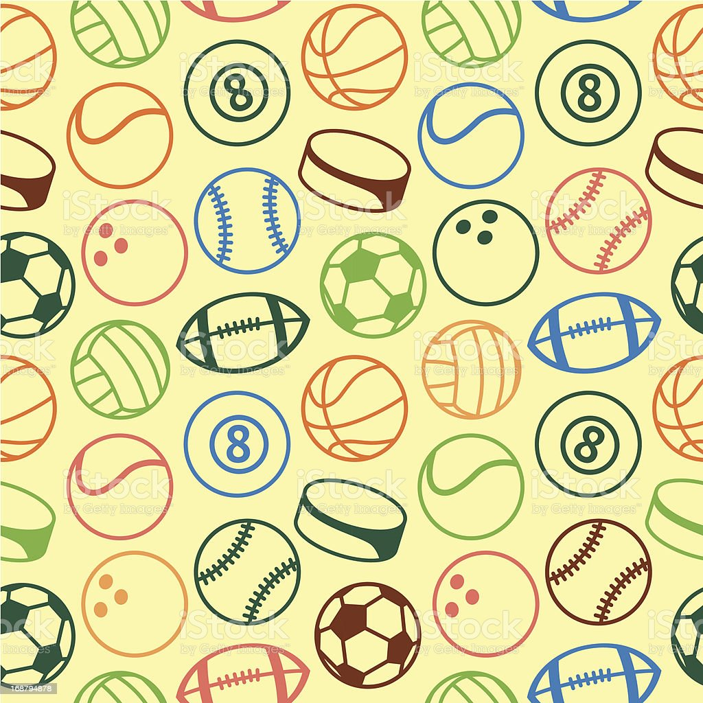 Vector seamless pattern with sport balls royalty-free stock vector art