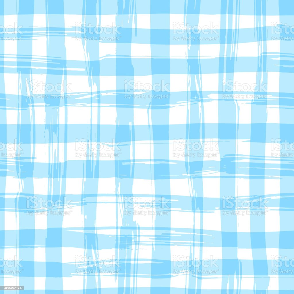 Vector seamless pattern with square hand drawn texture. Blue checkered vector art illustration