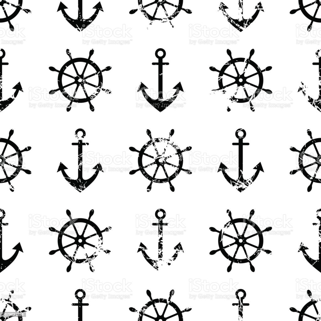 Vector seamless pattern with steering wheel, life preserver, anchor. Creative geometric  grunge background, nautical theme. Texture with cracks, ambrosia, scratches, attrition. Graphic illustration. vector art illustration