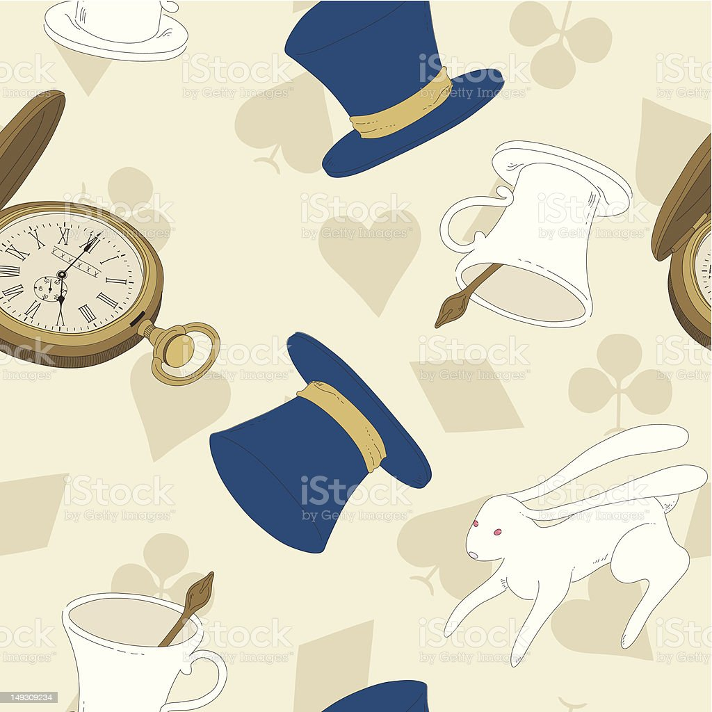 Vector Seamless Pattern with Top Hat, Rabbit, Watch and Cup royalty-free stock vector art