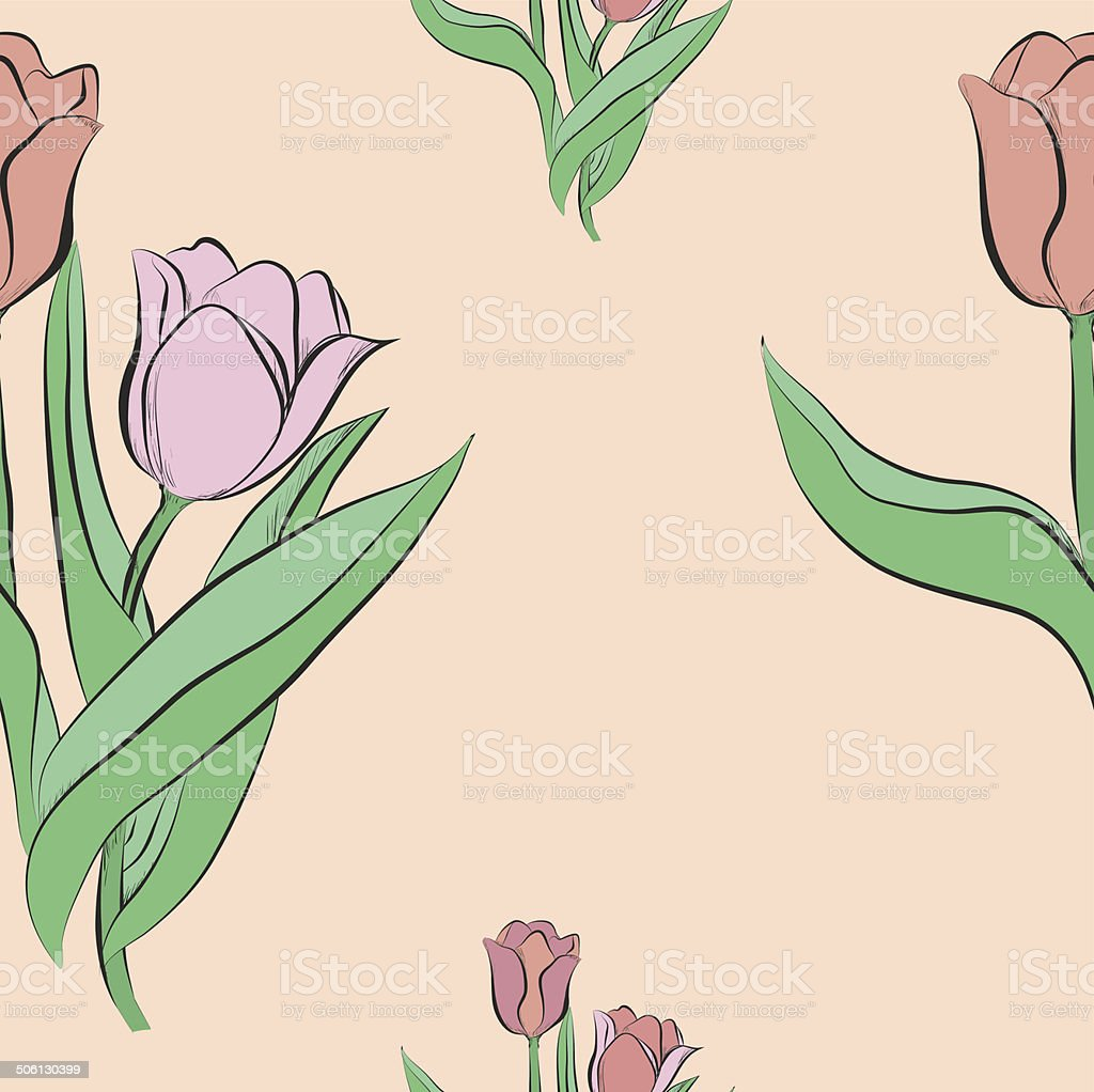Vector Seamless pattern with tulip flowers. royalty-free stock vector art