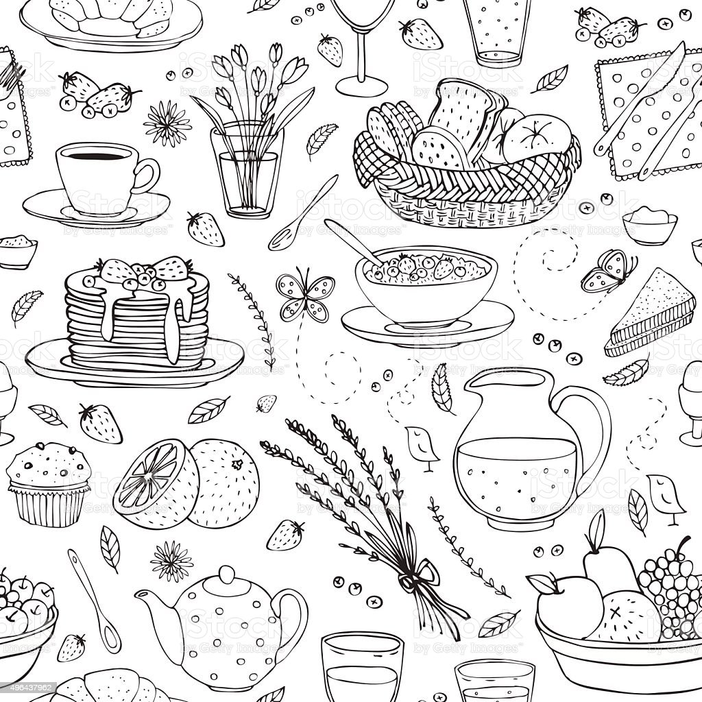 vector seamless pattern with various breakfast items vector art illustration