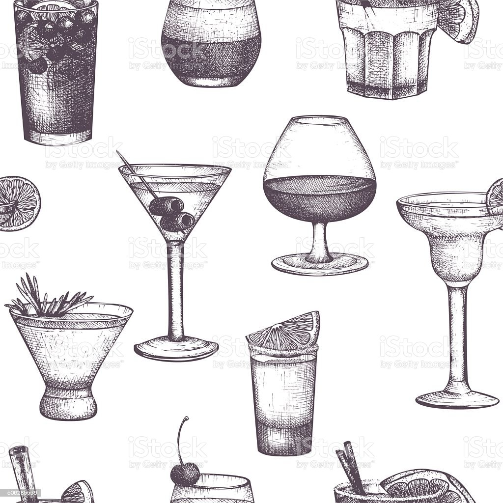 Vector seamless pattern with vintage alcoholic drinks sketch. vector art illustration