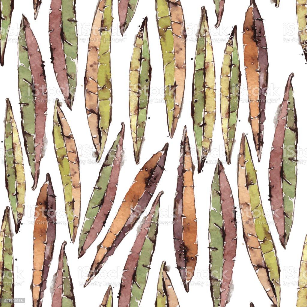 Vector Seamless Pattern with Watercolor Willow Leaves vector art illustration