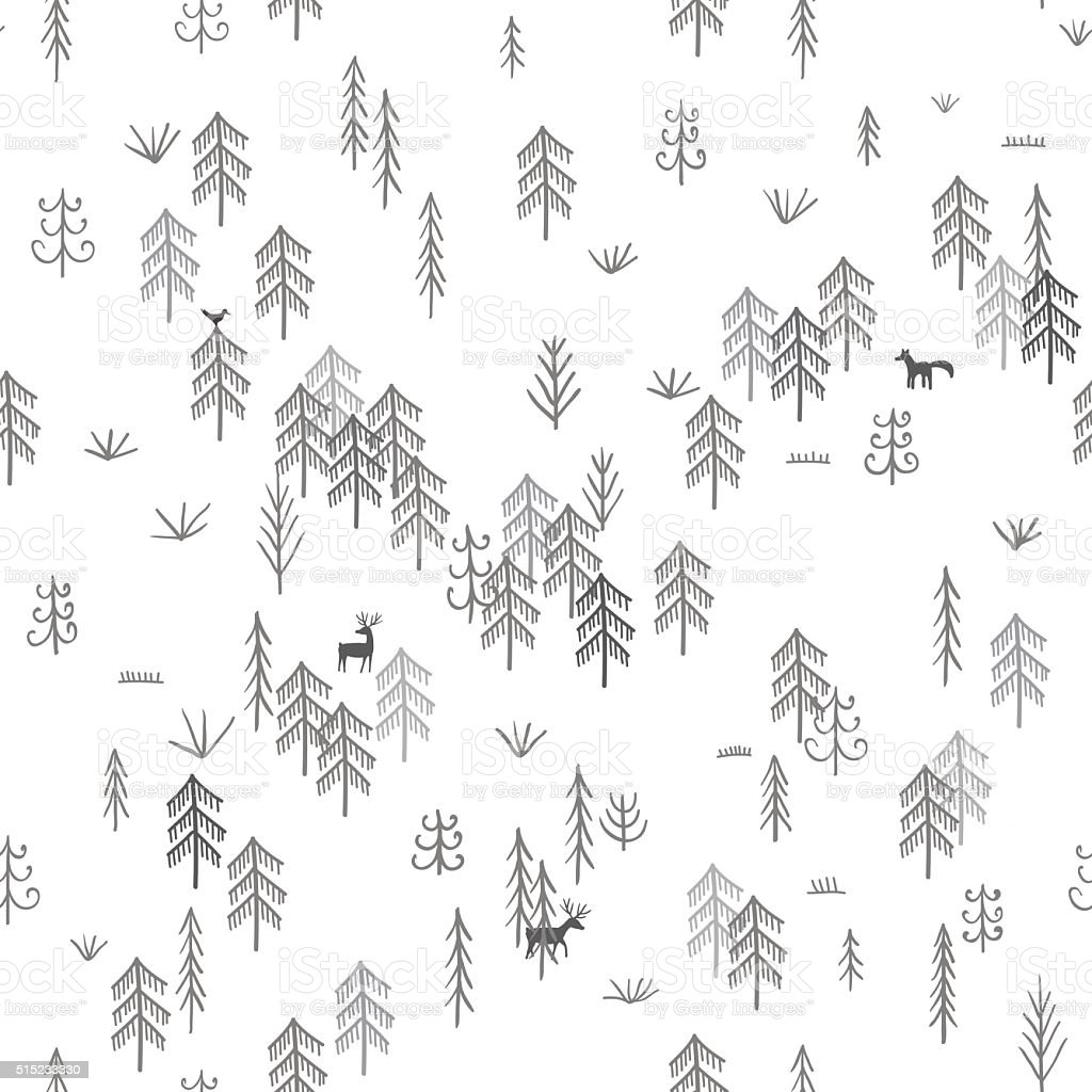 Vector seamless pattern with wild forest life with wolf hunting vector art illustration