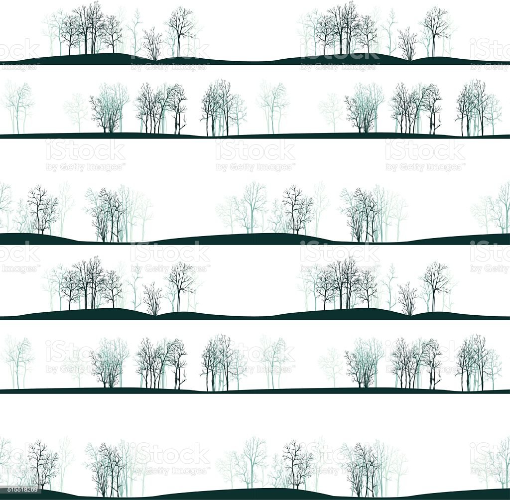 vector seamless pattern with winter trees vector art illustration