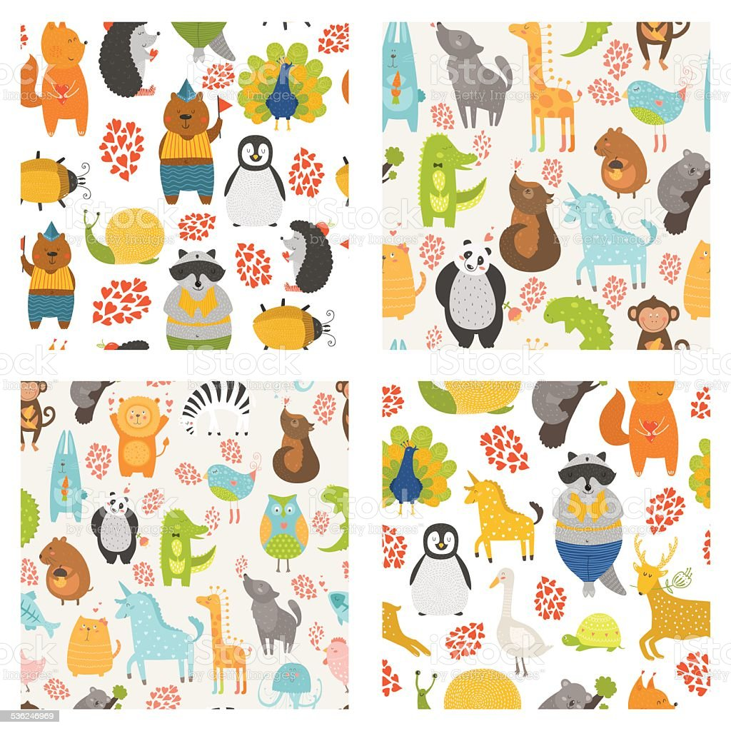 Vector seamless patterns with cute animals vector art illustration