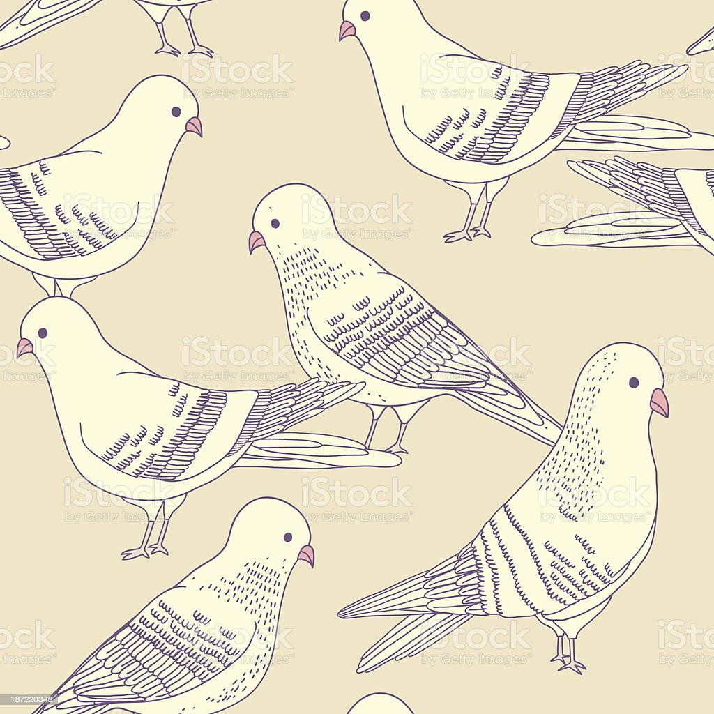 Vector seamless pigeon pattern royalty-free stock vector art