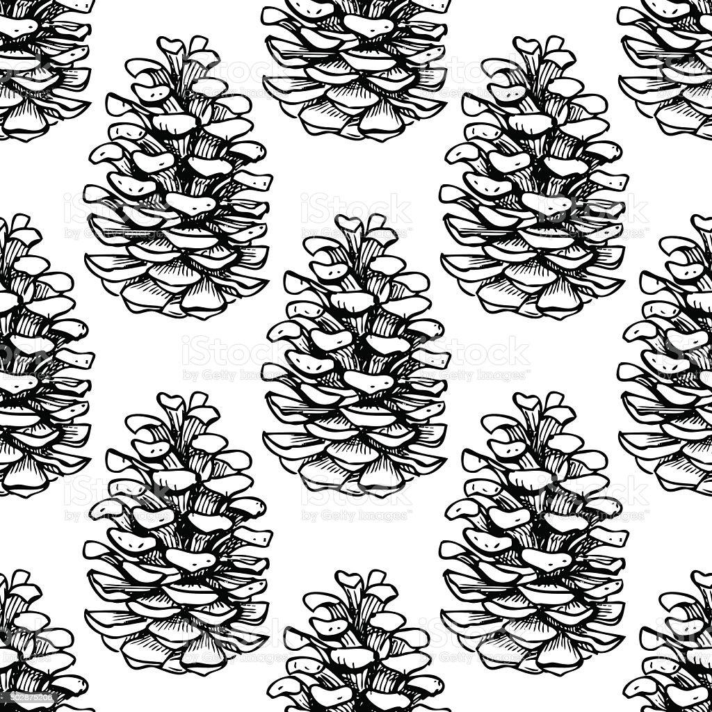 Vector seamless pine cone pattern. vector art illustration
