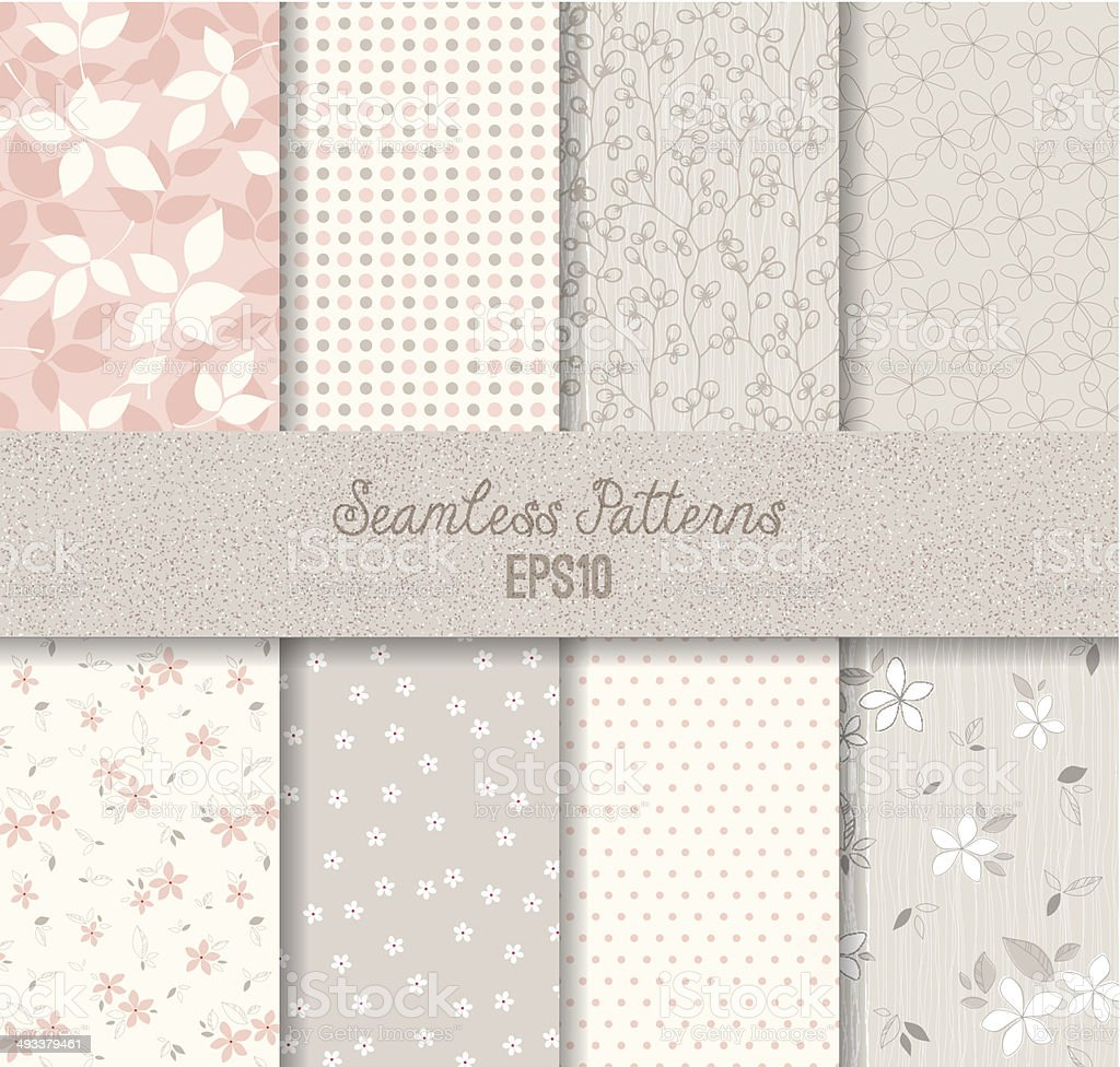 Vector seamless pink and gray patterns vector art illustration