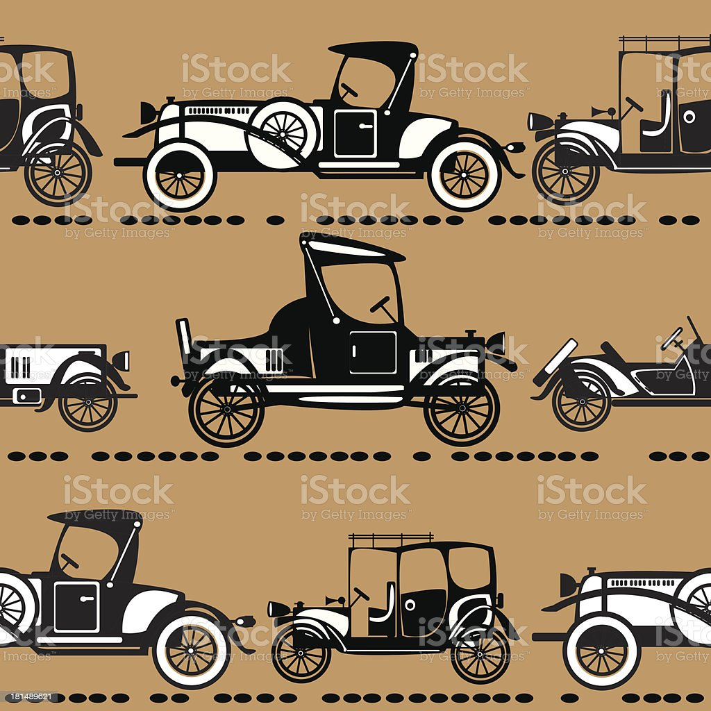vector seamless retro automobile pattern royalty-free stock vector art