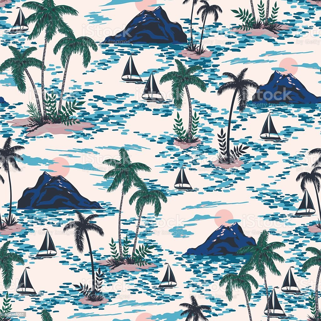 vector seamless retro style hawaii pattern with mountains vector art illustration