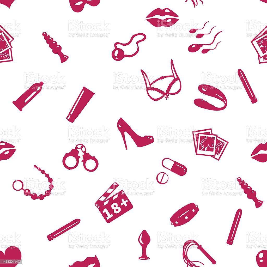 Vector Seamless Sex Shop Pattern vector art illustration