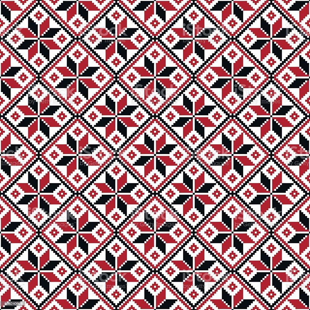 Vector seamless slavic ethnic pattern. Symbol of flame, man, masculine vector art illustration