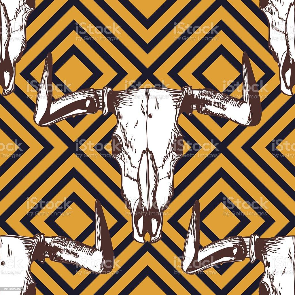 Vector seamless striped pattern with hand drawn buffalo skulls. vector art illustration