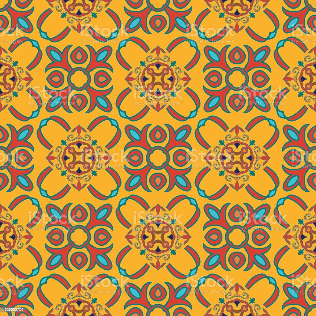 Vector seamless texture. Colored pattern with decorative elements vector art illustration