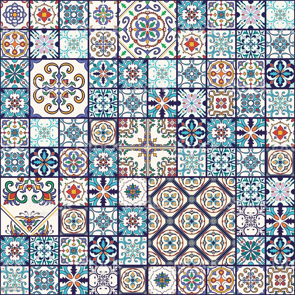 Vector seamless texture. Mega patchwork pattern with decorative elements vector art illustration