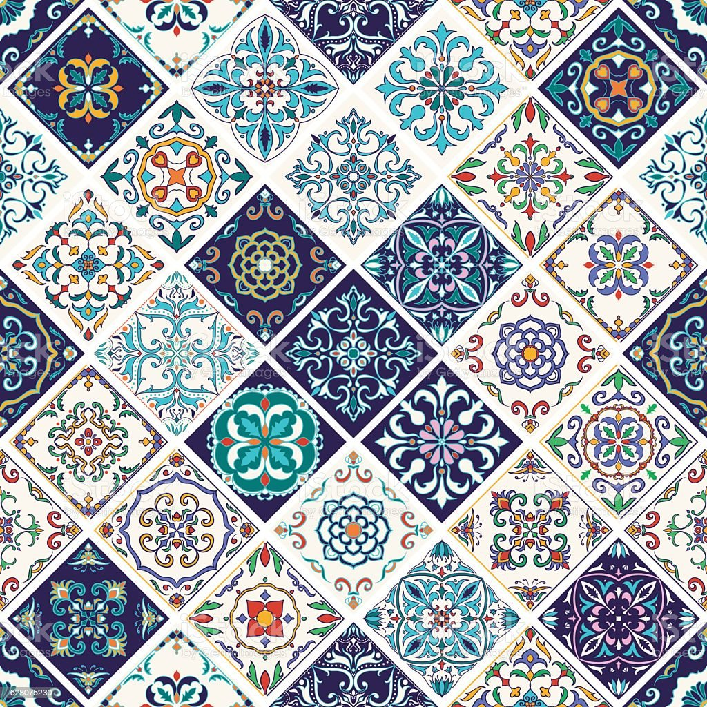 Vector seamless texture. Patchwork pattern with decorative elements vector art illustration