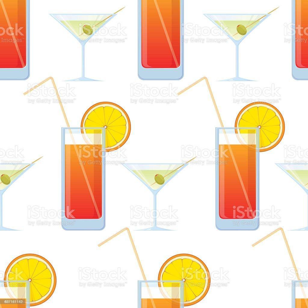 Vector seamless texture with cocktails and martini. vector art illustration