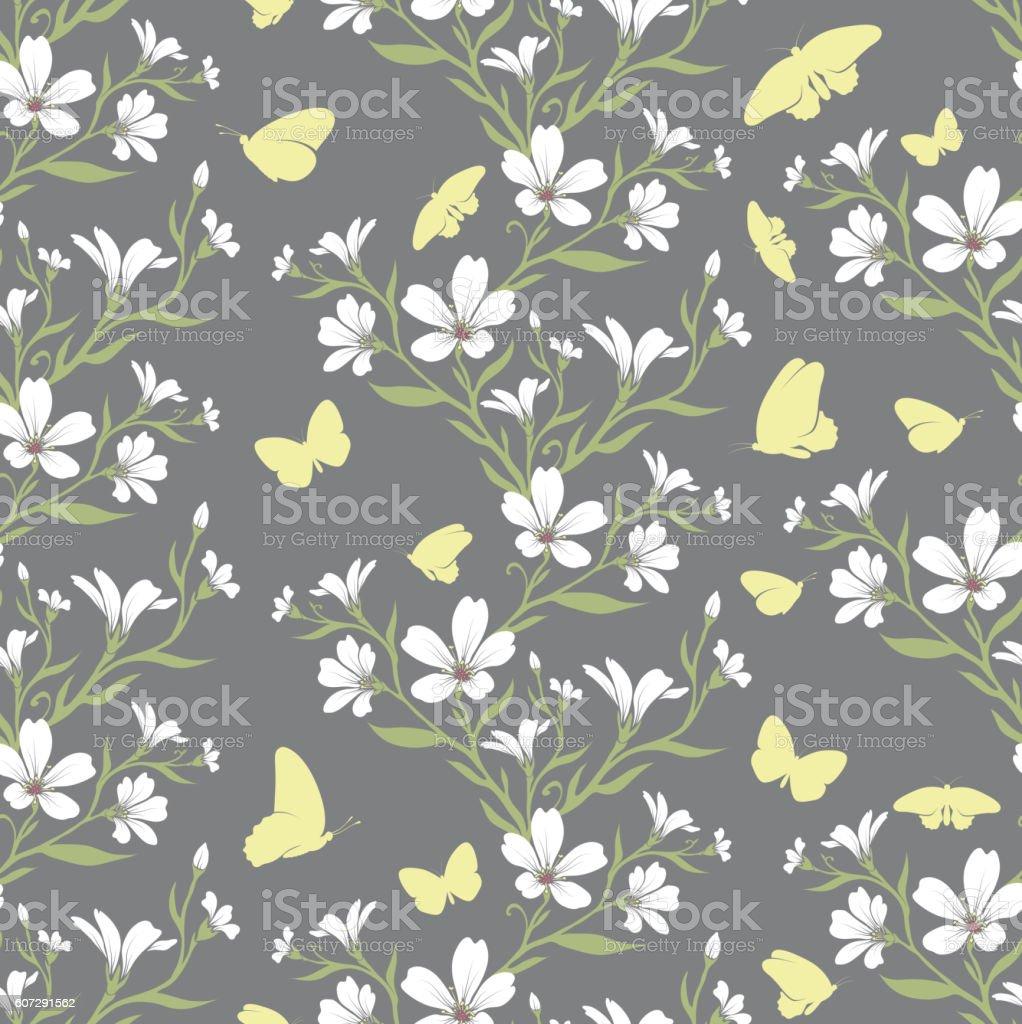 Vector seamless tiling pattern - romantic flowers vector art illustration