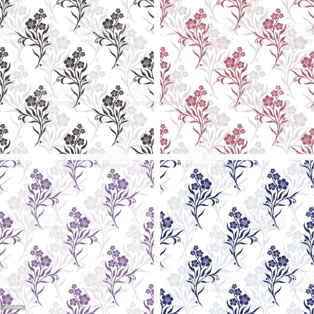 Vector seamless tiling patterns - romantic flowers vector art illustration