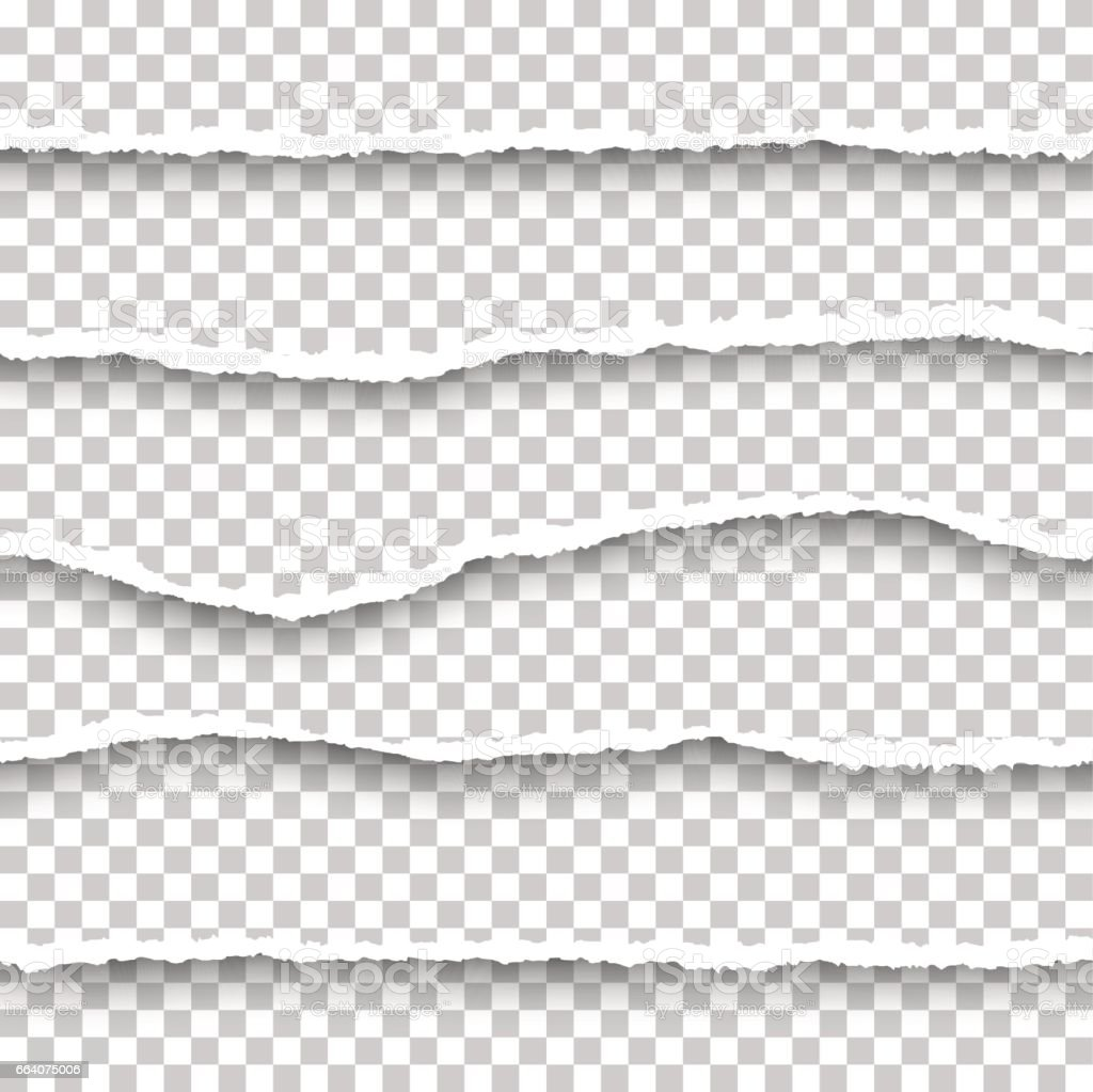 Vector seamless torn papers set vector art illustration