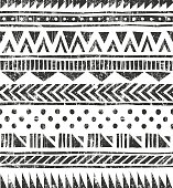 Vector seamless tribal texture. Primitive geometric background in grunge style