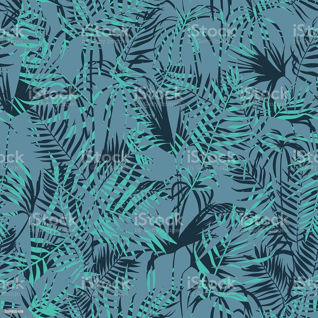 vector seamless tropical palms foliage pattern vector art illustration